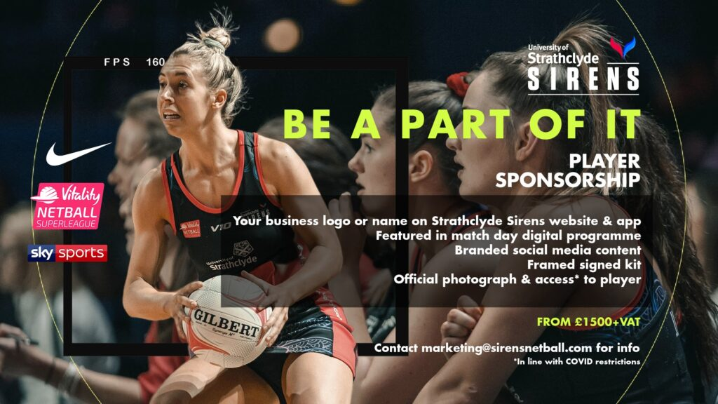 Player Sponsorships Available Now - Strathclyde Sirens